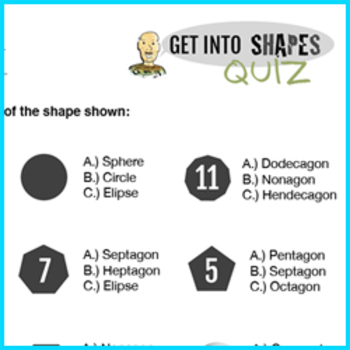 Get Into Shapes, Elementary geometry math shapes, lesson and quiz. K.G.A.2 and 3