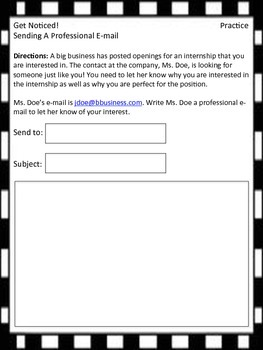 Get Noticed! - Sending a Professional E-mail Handouts and Worksheets