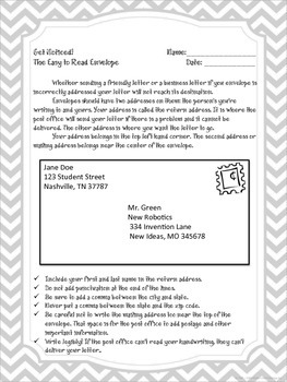 Get Noticed! - The Easy to Read Envelope Handout and Worksheet