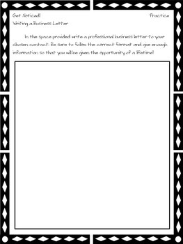 Get Noticed! - Writing a Business Letter Handout & Practice