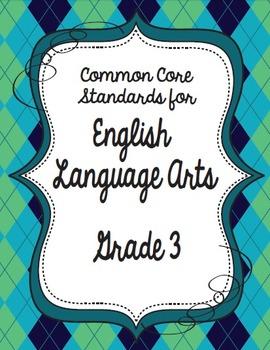 Get Organized!  3rd Grade Common Core ELA Binder Organizer