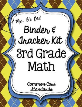 Get Organized!  3rd Grade Common Core Math Binder & Tracker - Editable Pages!