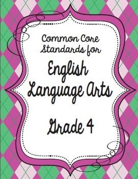 Get Organized!  4th Grade Common Core ELA Binder Organizer