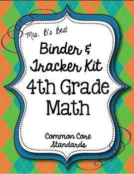 Get Organized!  4th Grade Common Core Math Binder & Tracker - Editable Pages!