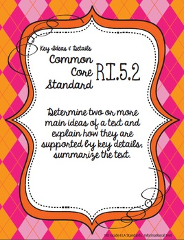 Get Organized!  5th Grade Common Core ELA Binder Organizer & Tracker