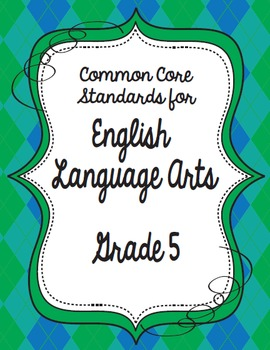 Get Organized!  5th Grade Common Core ELA Binder Organizer
