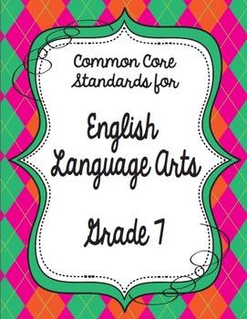 Get Organized!  7th Grade Common Core ELA Binder Organizer & Tracker