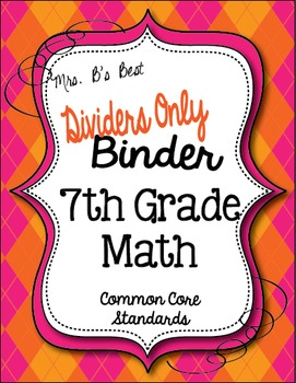 Get Organized!  7th Grade Common Core Math Binder Divider Pages Only!