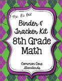 Get Organized!  8th Grade Common Core Math Binder & Tracker - Editable Pages!