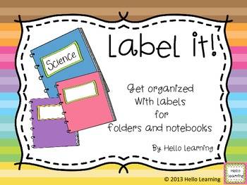 Get Organized - Labels for Student Notebooks and Folders