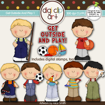 Get Outside And Play 1-  Digi Clip Art/Digital Stamps - CU Clip Art