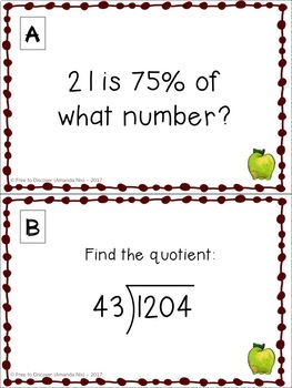 Get Ready for 7th Grade Math - Autumn (Back to School) Theme