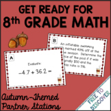 Get Ready for 8th Grade Math - Autumn (Back to School) Theme