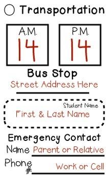 Get Students Home Safely - Transportation Card for Backpacks