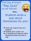 Get To Know The Teacher Quiz EDITABLE Students Create Their Own Quiz For You!