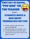 Get To Know The Teacher Quiz and Students Create Their Own Quiz For You!