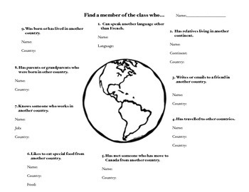 Get To Know You Activity - Classroom Hunt - Cultural Diversity