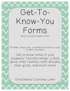 Get To Know You, Back-to-School forms