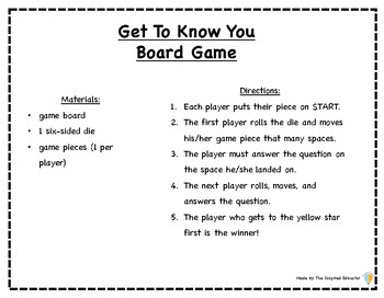 Get To Know You Board Game