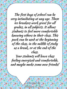 Get To Know You  First Days of School