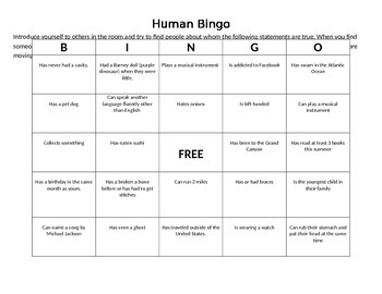 Get To Know You - Human Bingo