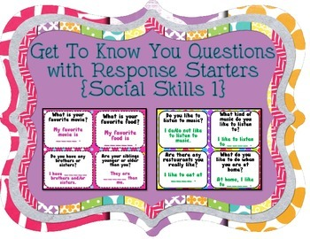 Get To Know You Questions with Response Starters  {Social