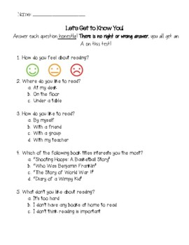 Get To Know You Reading Quiz
