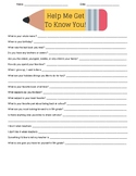 Get To Know You Student Survey
