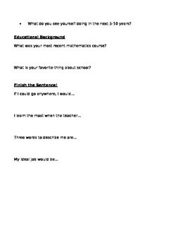 Get-To-Know-You Student Worksheet
