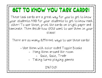 Get To Know You Task Cards