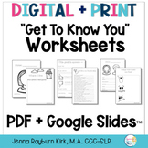 Digital Get To Know You Worksheets for Speech Therapy: PDF + Google Slides
