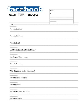 Get To Know Your Students- Blank Facebook Page
