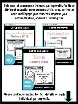 Get Up and Move! {An Area, Perimeter and Time Gallery Walk Combo Pack!}