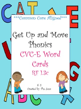 Get Up and Move Phonics ***CVC-e Word Cards*** NOW WITH FREE ACTIVITY