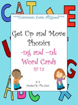 Get Up and Move Phonics ***-ng & -nk Endings Word Cards*** WITH FREE ACTIVITY