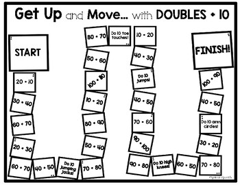 Get Up and Move with Doubles,  Doubles + 1 and Doubles +10 Math Game!