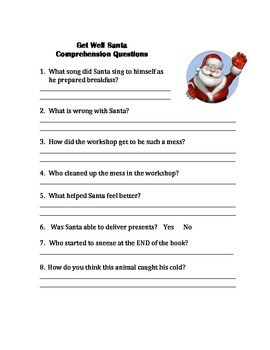 Get Well Santa Book Unit -comprehension questions, writing prompts, vocabulary
