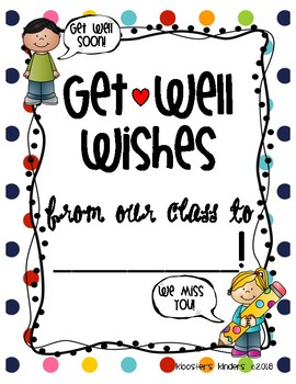 Get Well Soon Class Book Letter Writing Picture for sick student, teacher, para