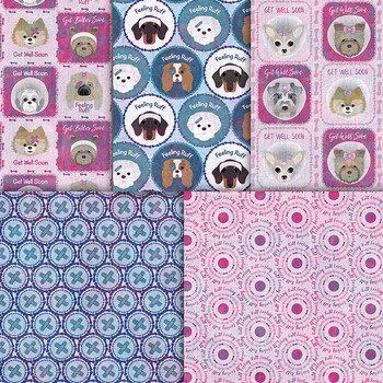 Get Well Soon Digital Papers - Dogs At The Vet, Cone Of Shame - Dog Patterns