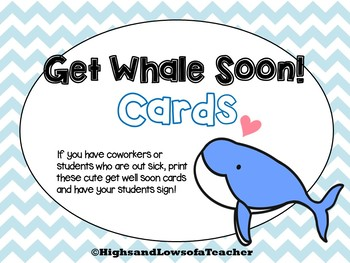 Get Whale (Well) Soon Cards for Students and Coworkers