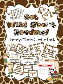 Get Wild About Reading Library Media Center Pack {with EDITABLE signs}