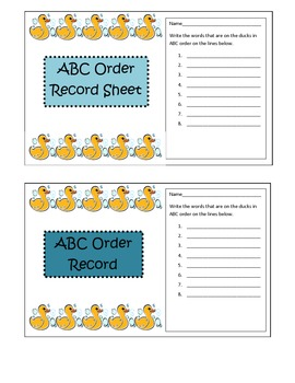Get Your Ducks in a Row ABC order