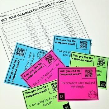 Grammar Task Cards: Compound Words