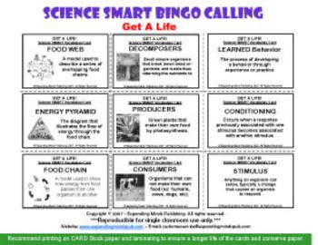 Get a Life Bingo - Life and Animal Science focus