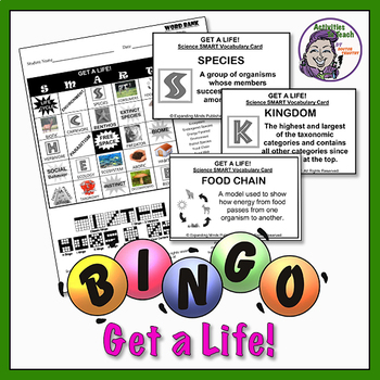 Get a Life Bingo - MS/HS Science Topic Life Science