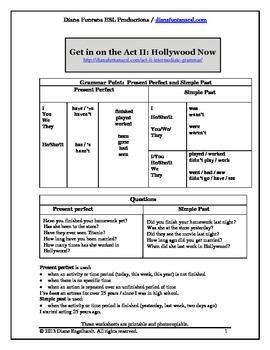Get in on the Act II Intermediate Grammar Video Worksheets