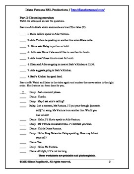 Get in on the Act III Telephone English Video Worksheets