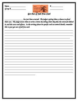 Get out of jail free writing activity