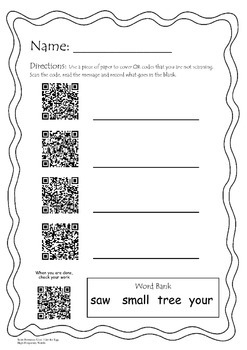 Get the Egg- QR Code high-frequency words- Scott Foresman