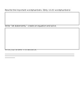 Graphic Organizer for Word Problems